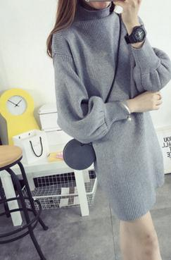 New Korean bubble sleeve in the long section of loose wool knitted dress turtleneck women fashion sweater