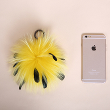 disco Fashion Hair Bulb Fluffy Fur Ball Key Chain Bag Charm Clip Fuzzy Ball for Mobile Phone Pendant raccoon Fur