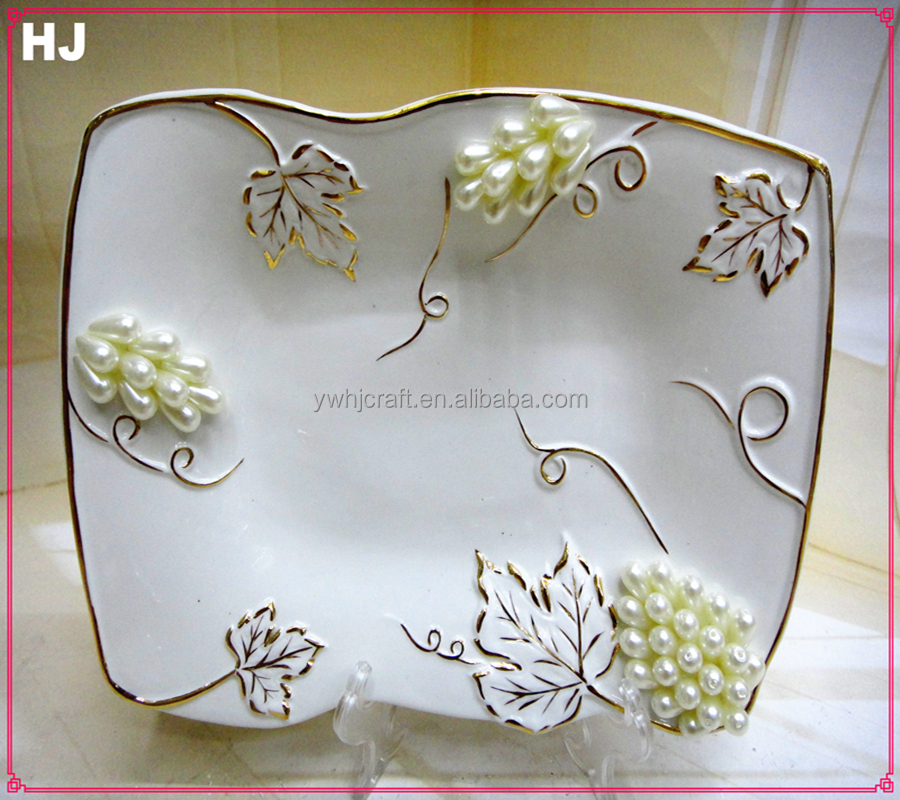 Porcelain white fruit plate with jewels for gifts ceramic plate
