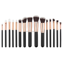 Stock 15pcs Black Rose Gold Wooden Handle <strong>Brushes</strong> for Make Up