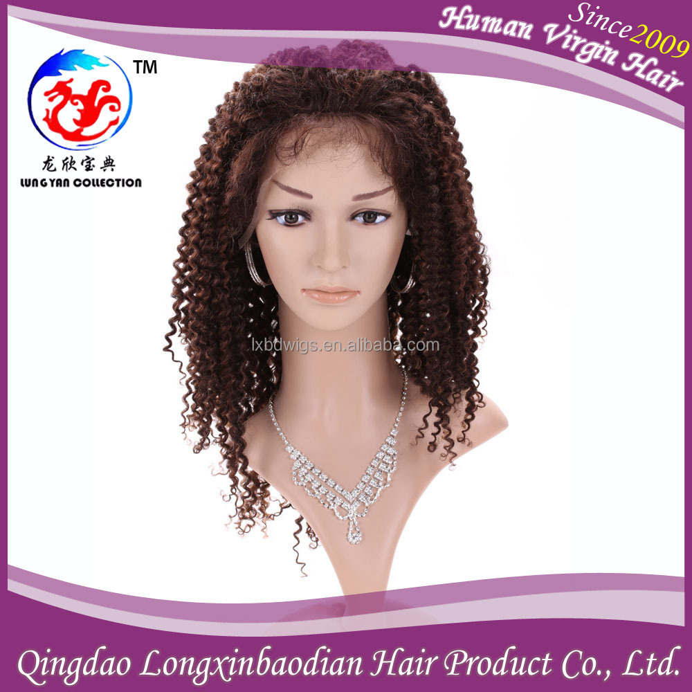 Black Women Bleached Knots Brazilian Remy Virgin Afro Kinky Curly Full Lace Human Hair Wigs
