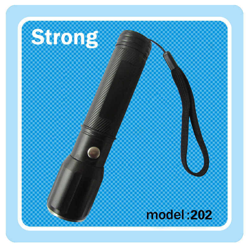 Multi-function police flashlight rechargeable led emergency torch light