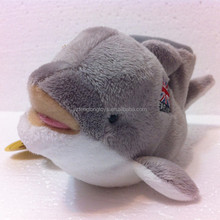 Funny animal pen container, soft stuffed dolphin toy