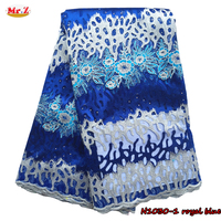 Hot Sale Royal Blue Guipure French Lace Fabric 2016 For Wedding N1030