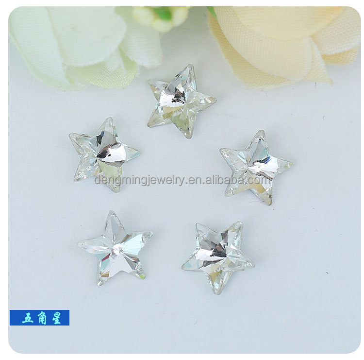 High Quality Wholesales Point Back Loose Star Shaped Crystal Glass Beads for Jewelry Cloth Phone Decorating Cheap