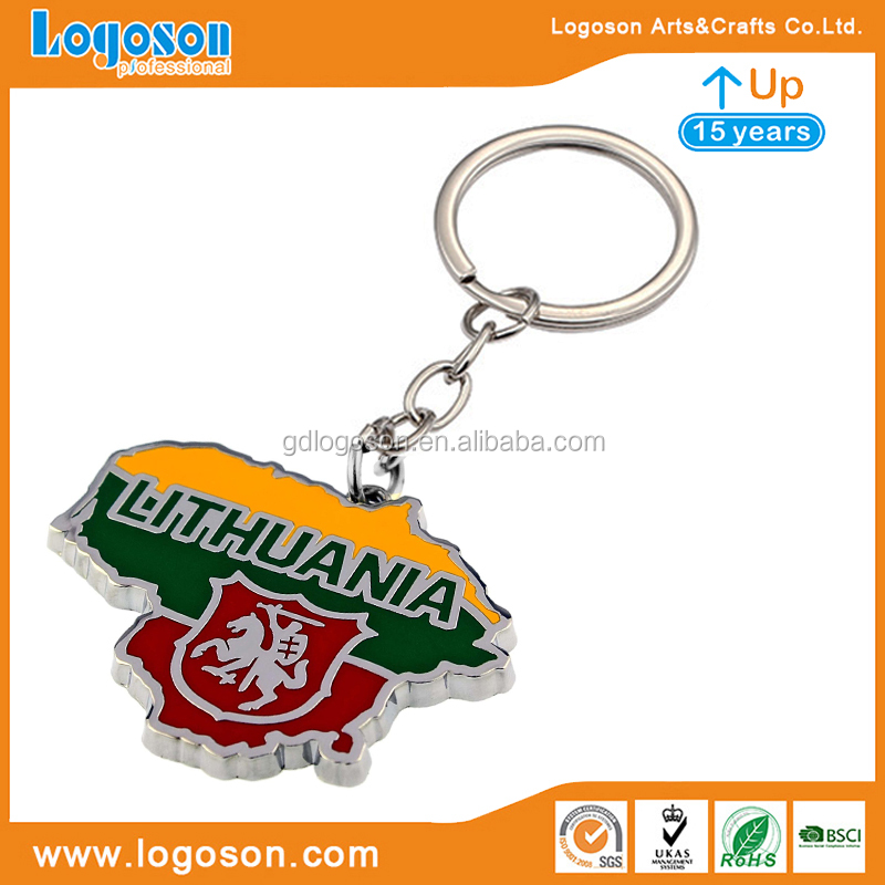 Top Quality Lithuania Souvenir Zinc Alloy Charm Keychain Holders Promotional Gift Round Spinner Key Chain for Craft