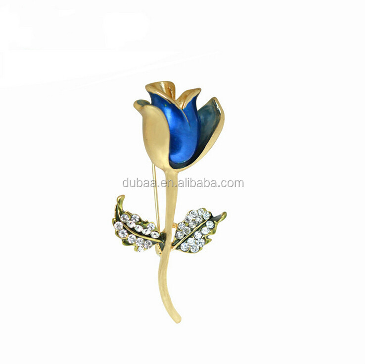 Bouquet Rhinestone Crystal Rose Brooch Pin Gold Brooches Christmas