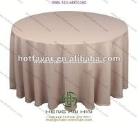beige polyester round tablecloth for banquet
