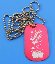 red color design metal dog tag with ball chain for kids(Box--metal dog tag pet ID tag-342b)