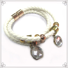 White Pu Leather Homemade Crystal Beads Bracelet For Women