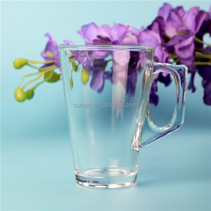 Machine press popular glass tea cup 260ml volume tea cup glass with handles
