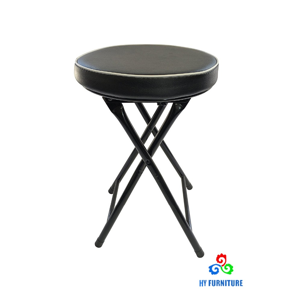 Small round cushion folding stool with sponge covered PVC supplier