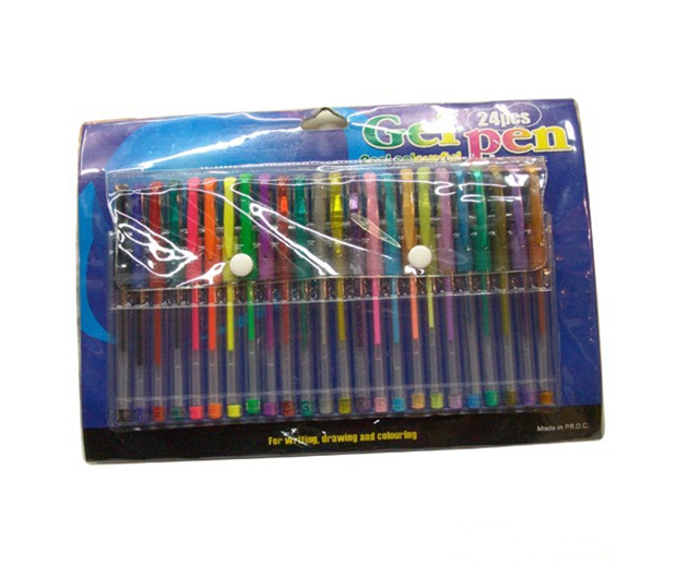 24 COLORS GEL PEN and GOOD QUALITY IN BLISTER CARD