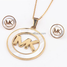 new wholesale hot selling stainless steel letter earrings and pendants necklace mop wedding jewelry sets