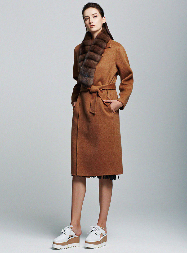 Trench Camel Long Blend Wool Cashmere Coat