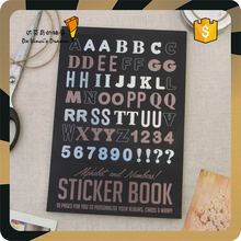 Custom Printed numbers and letters decorative children sticker book,black sitcker book