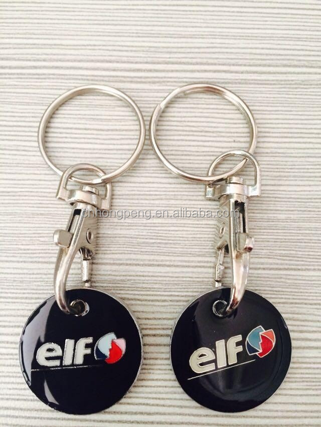 Promotional custom logo mental trolley token coin keychain