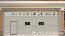 Mordern Automatic Galvanized Steel Sectional Garage Door with Pedestrians and Three Small Windows