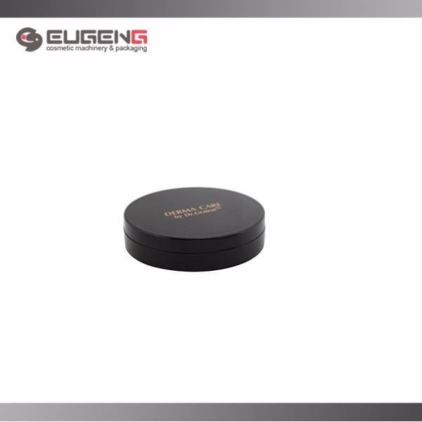 Round black with aluminium plate empty makeup compact jar/compact container/compact packaging