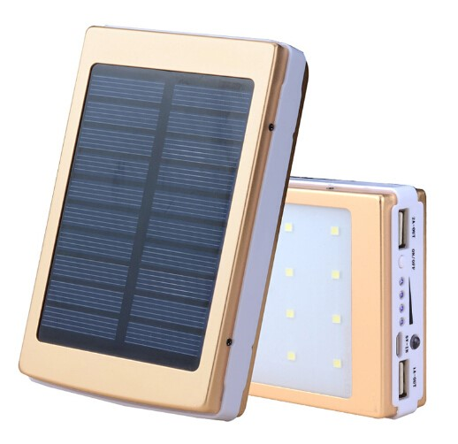 New 10000mah Solar Power Bank with Camping LED light Outdoor Flashlight Cargador Sun Battery Charger