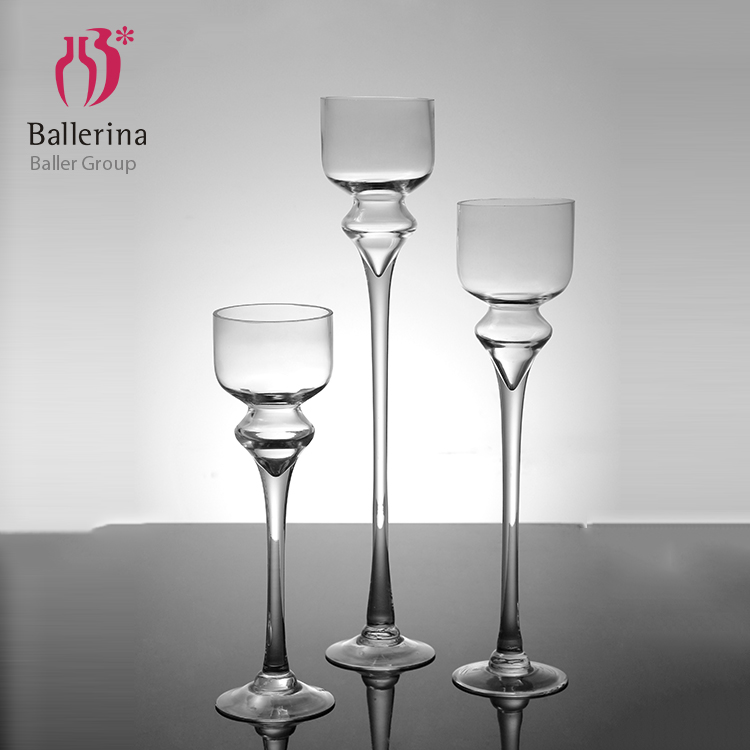 Wholesale clear tall glass candle holder crystal candle holder for wedding decoration
