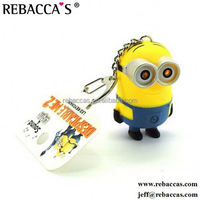 Cartoon PVC Soft Rubber Minion 3D Rubber Keychain With clock