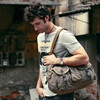 0503 High Quality Green Canvas and Leather Shoulder Travel Bag for Men