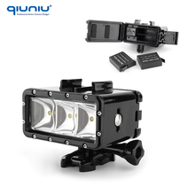 QIUNIU Underwater 30M Waterproof Diving Light LED Lamp With 2PCS AHDBT-401 Battery for GoPro Hero 5 4 3+