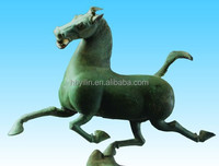 Bronze sculpture large outdoor galloping horse treading on flying swallow