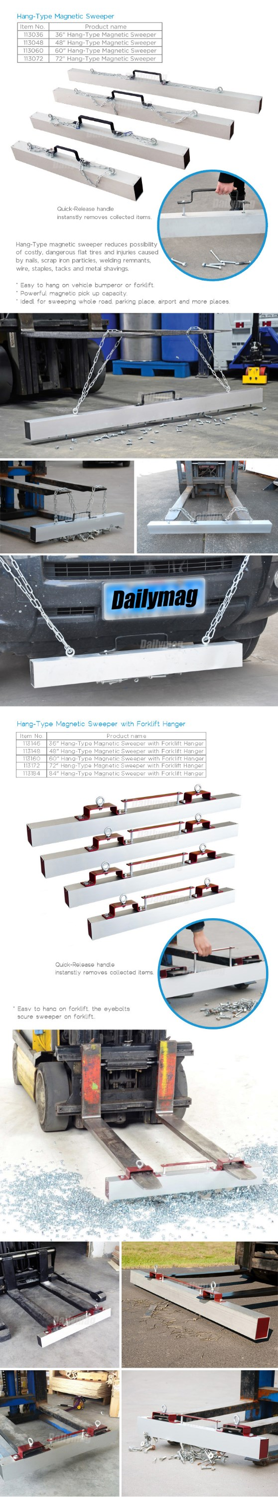 Truck Tractor Forklift Mounted Magnetic Road Sweeper Brushes for Metal Nails Screws Cleaning