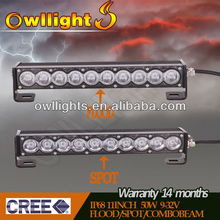 "Hot Sell 11"" 50w Single Row Offroad 4x4 LED Light Bar High Power LED Driving Light Bar thin led light bar"