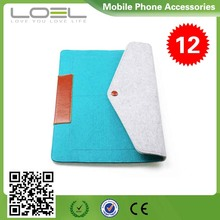 New Design Colorfiled Leahter and Felt Zipper Bag for Ipad, New Style Tablet Zipper Felt Sleeve Case with Lining B022525(5)