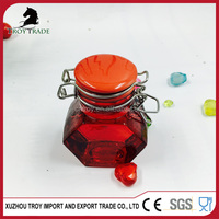 Hot selling sealed glass storage jar with metal clip lid top