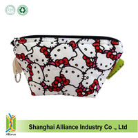 Cute ketty cat wash bags/fashion cotton cat cosmetic bags / Recycled pink makeup handbags