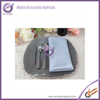 Restaurant Cheap Large Square Shape Silver Wedding Decorative Clear Glass Dinner Charger Plates