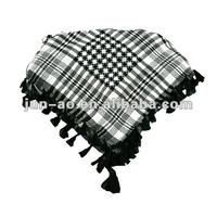 black and white stripe square woven scarf