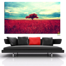 Free Sample Lone Red Tree Standing on the prairie printed canvas to painting