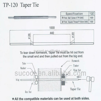 Formwork Construction Taper Tie Rod For Sale