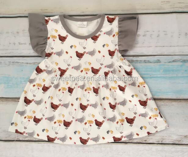 Boutique Summer Baby Clothes Awesome Remake Girls chicken Pattern Flutter Sleeve Pearl Dresses