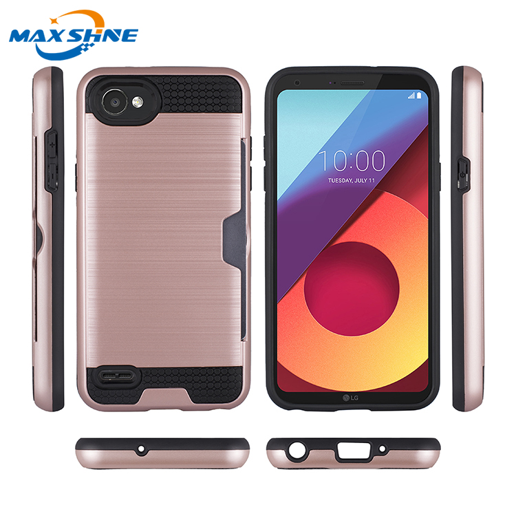 Maxshine mobiles phones covers for LG Q6 credit card case, pc tpu hybrid case for LG Q6