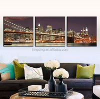 Bridge Night Canvas Prints Painting picture printed Combined Canvas Paints home decoration for living bedroom LA4007