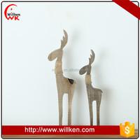 Carving wooden christmas deer animal figures