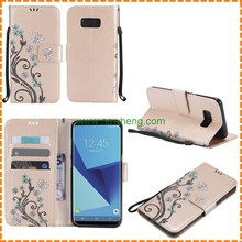 New Arrival Painted Butterfly Embossed Flip Stand Leather case for Samsung Galaxy s8