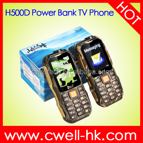 2.4 Inch Screen Dual SIM Card H500D Power Bank Analog TV Function Original Mobile Phone Made in China