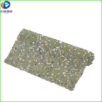 Natural Stone rhinestone mesh decoration with white stones and green beads