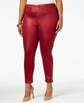 Pantalon en denim denim enduit disponible multicolore lavages plus ciré taille jambe maigre curvy ajustement jeans