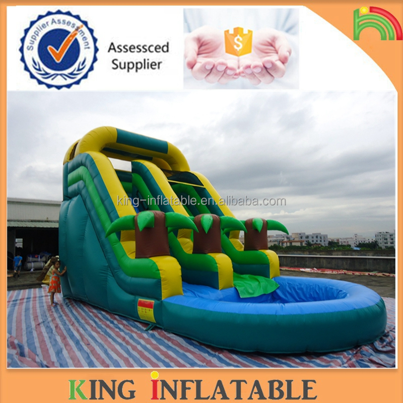 Amusement Park Used Inflatable Water Slide Equipment With Pool