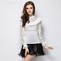 women clothing round collar mini blouse of lace sleeve for girls top