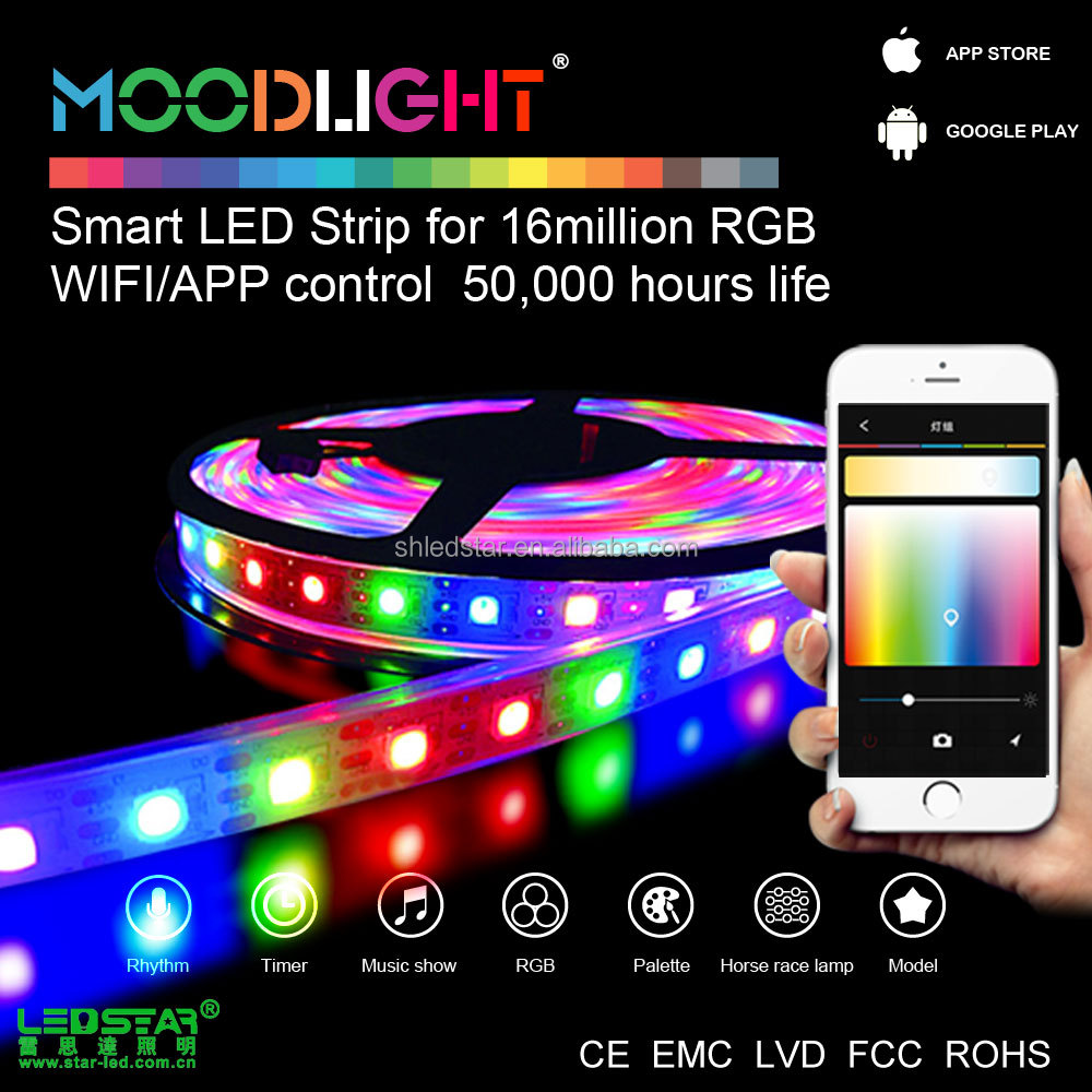Moodlight 3m adhesive 12v waterproof led strip lights, addressable flexible led strip DC12V