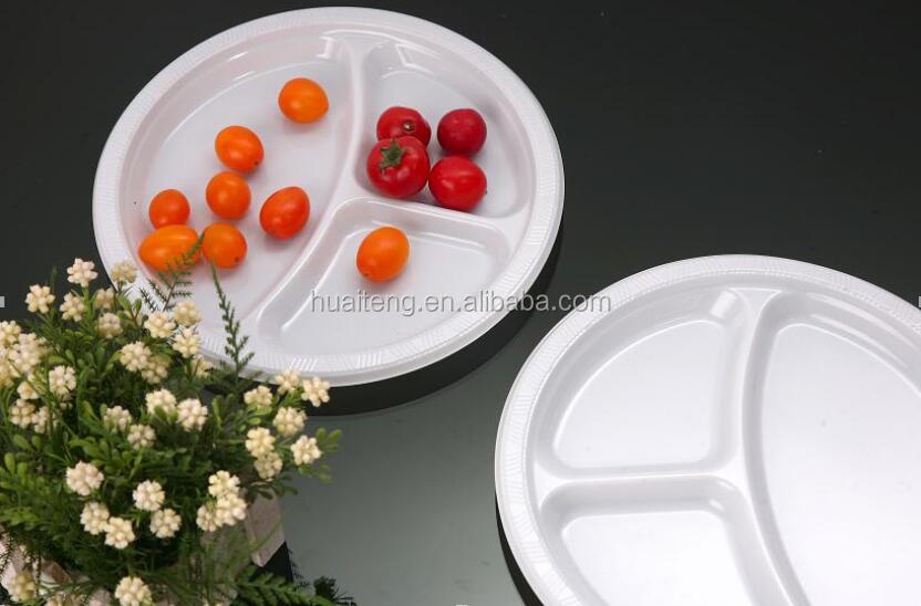 disposable 4 compartment plastic plate divided tray